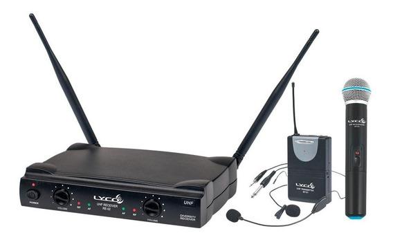 Microfone Sem Fio Duplo Mão Headset Lyco Uh02mhli Uhf