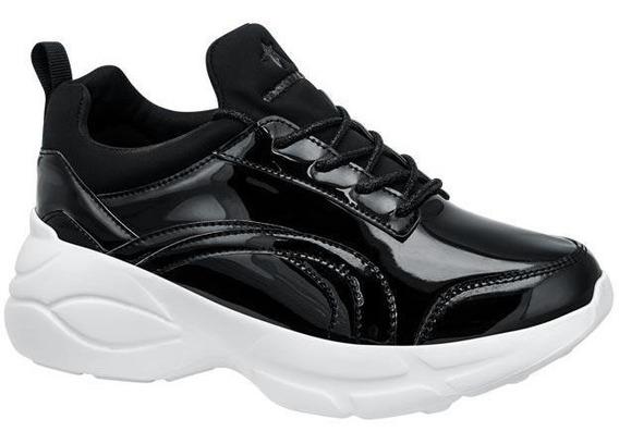 Chunky Sneakers Gloria Trevi Tenis De Charol Negro Para Dama