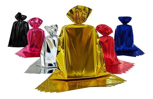 Imagem 1 de 4 de Embalagem Saco Para Presente Metalizado 30x44 C/ 100 Unid