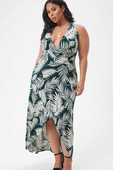 Vestido Largo Palm Leaf Seda Fría Fiesta O Casual Talle 3x