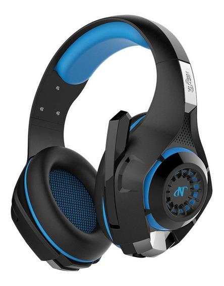 Auriculares gamer Nisuta NSAUG300 negro y azul