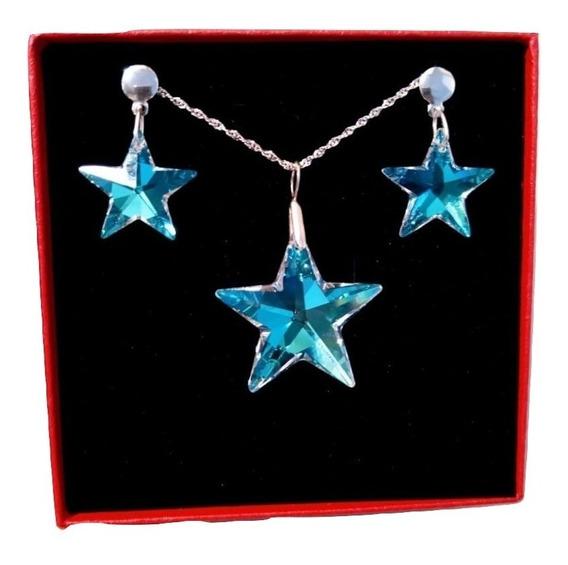 Conjunto Estrela Cristal Swarovski Blue Ab Prata 925