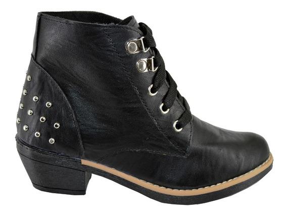 Zapatos Botas Texanas Mujer Tachas Y Cordones