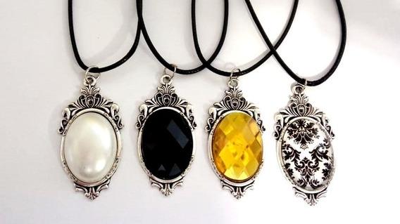 Colar Dark Vintage Preto, Perola, Amarelo