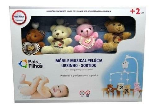 Imagem 1 de 1 de Móbile Musical Pelúcia Ursinho Estampado Bebe Menina Menino