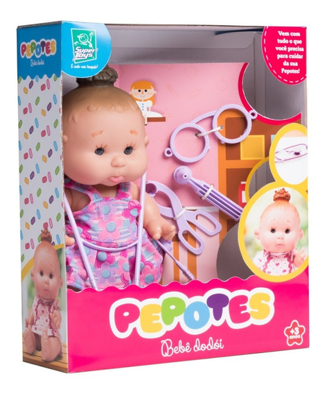 Boneca Pepotes Bebê Dodói Com Acessórios