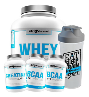 Kit Whey Protein 2kg + 2x Bcaa Fit + Creatina + Shaker - Brn