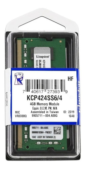 Memoria Kingston Notebook 4gb Ddr4 Sodimm Kcp424ss6/4
