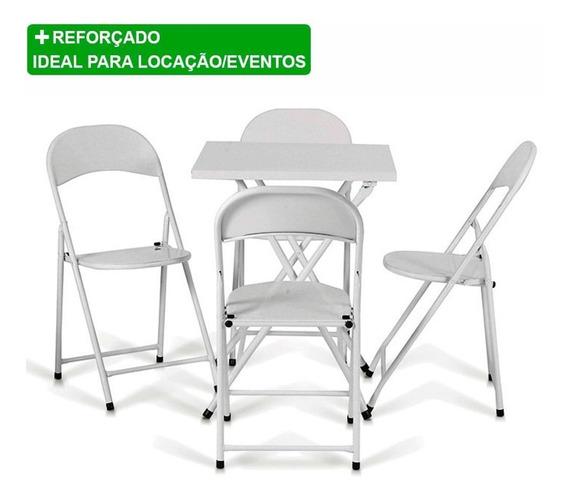 Conjunto Dobrável De Metal Ferro Aço Mesa E 4 Cadeiras