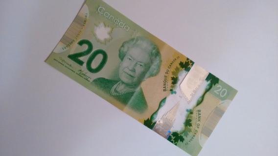 Cédula De 20 Dólares Canadense Linda Em Polímero! R$ 128,00
