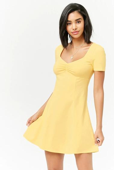 Forever 21 Vestido Corto Algodon Verano Amarillo Stretch S