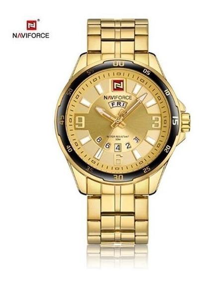 Relógio Masculino Dourado Naviforce 9106 Aço Inoxidável