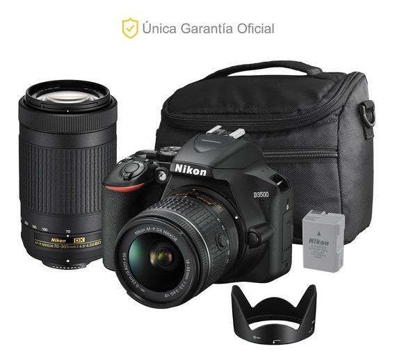 Nikon Oficial D3500 18-55, 70-300, Parasol Y Batería Extra