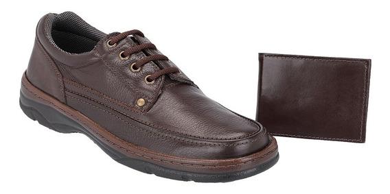 Sapato Masculino Casual Kit Carteira Galway Em Couro 2020