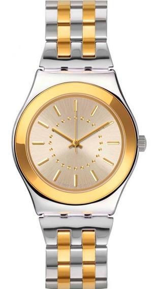 Relógio Swatch Feminino Aço Prateado E Dourado - Yls207g