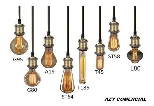 10 Fio Pendente Metal C/canopla +10 Lampadas Retrô 220v