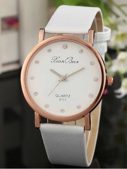 Relógio Feminino Quartz Pulseira Branco Luxo