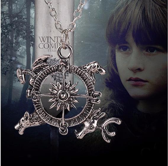 Colar Bússola Game Of Thrones Targaryen, Stark, Baratheon