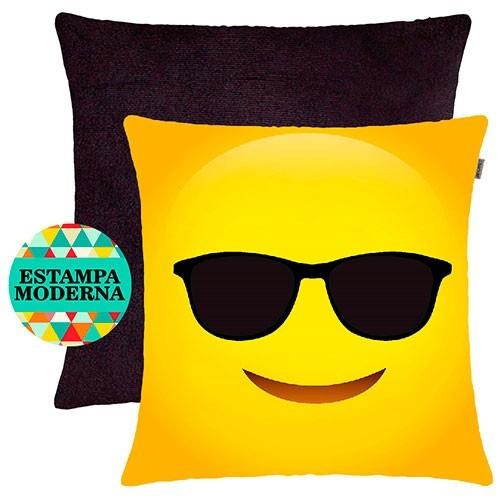 494d4a466924de Kit 2 Almofadas Decorativas Preto Suede E Capa Emoji