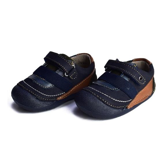 Zapato Piel Azul Marino Para Niños Natura 75211 Tallas 11-13