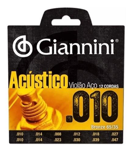 Encordoamento Giannini Violão Aço 12 Cordas .010 Bronze Aço