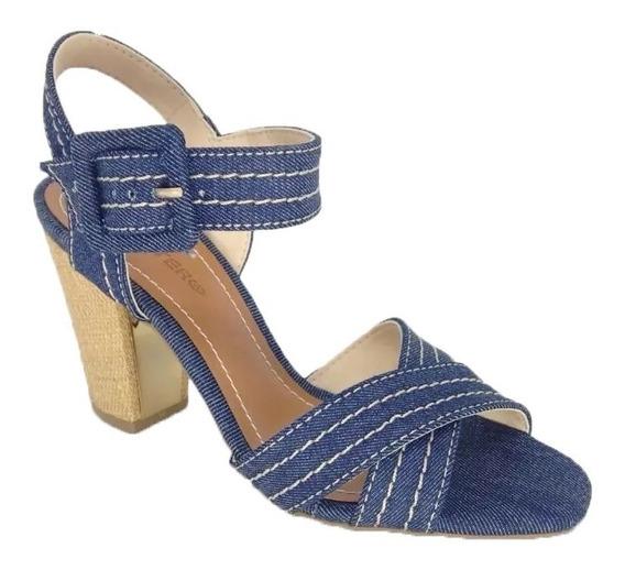 Sandália Feminina Salto Grosso Jeans Italiano Bottero 276325