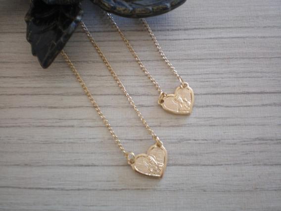 Escapulário Coração Nª Sª Do Carmo 60 Cm Banhado A Ouro