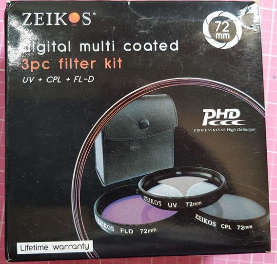 Kit Com 03 Filtros Zeikos 72mm - Uv / Cpl / Fld-d