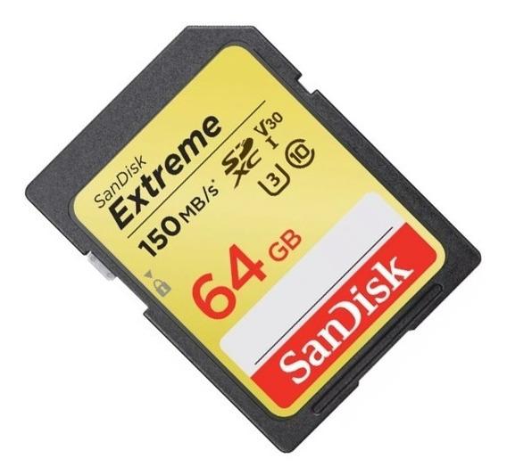 Cartão De Memória Sandisk Sd64gb 150mb/s Extreme Original
