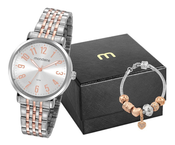 Relógio Mondaine Feminino + Pulseira + Nf 32107lpmvge2k1