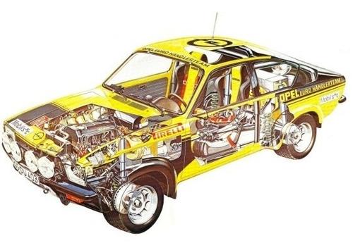 Opel Kadett - Rally - Autos Clásicos - Lámina 45x30 Cm.
