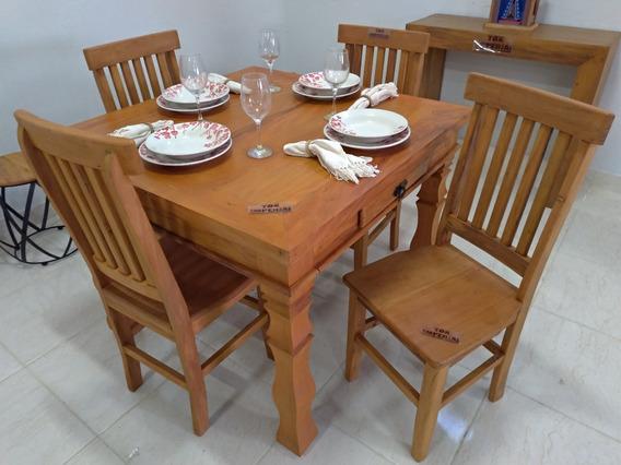 Mesa De Jantar Rústica 1m Pé Torneado + 4 Cadeiras Mineiras
