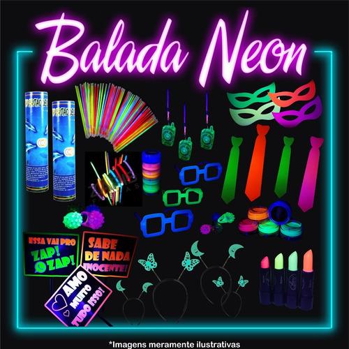 Kit Festa Neon Adereço Brilha Luz Negra 85 Itens Com Balão