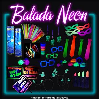 Kit Festa Neon Adereço Brilha Luz Negra 169 Item + Maquiagem