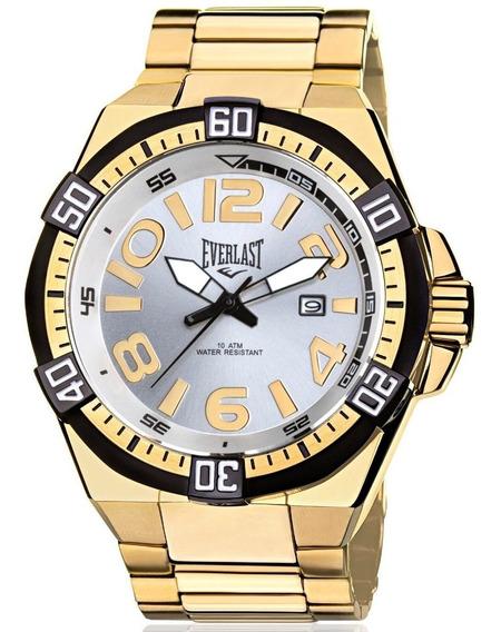 Relógio Everlast Masculino Dourado Analógico - E635