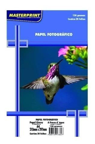 Papel Fotografico A4 Glossy 120g Com 100 Folhas Masterprint