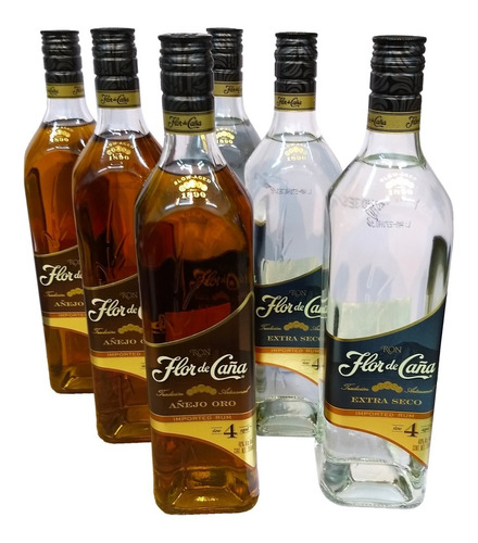 Imagen 1 de 1 de Combo Ron Flor De Caña 4 Años Gold + Silver 6 Botellas