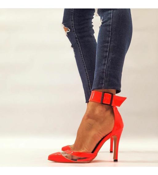 Zapato Stiletto Charol Taco Fino 10 Cm Mujer Con Agarre