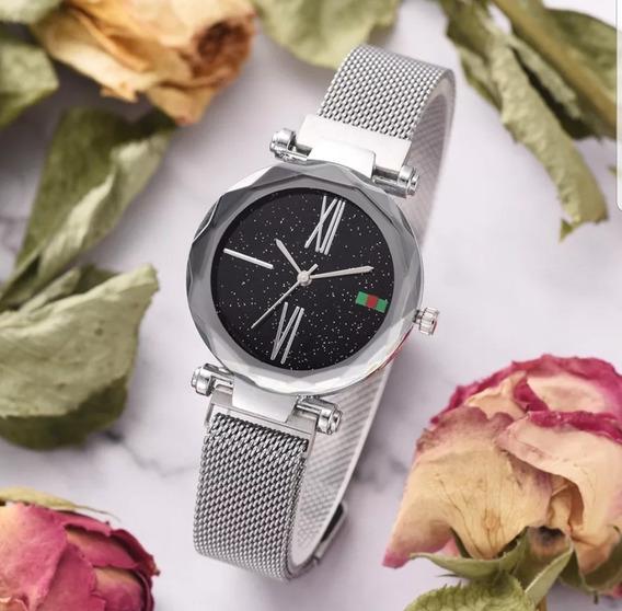 Relógio Céu Estrelado Prata Importado Imã Caixa De Presente