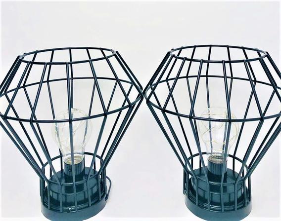 Kit 2 Abajur Luminária De Mesa Diamante Aramada Retro Oferta
