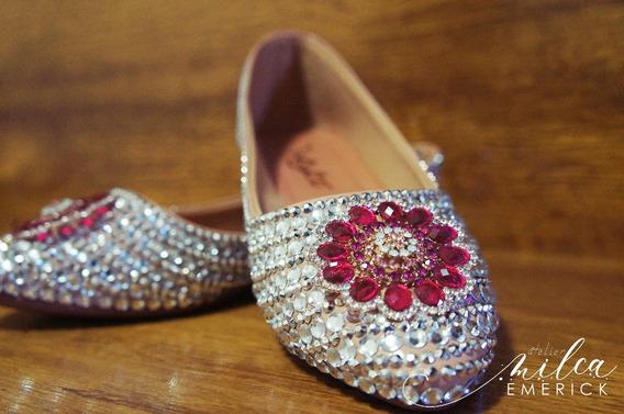 Sapatilha Para Noivas E Debutantes Prata Com Pink