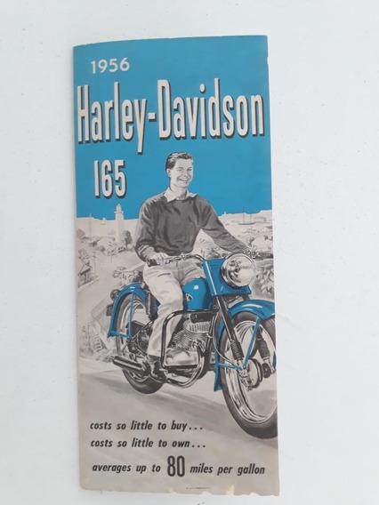 Folder Folheto Propaganda Brochura Harley Davidson 165 1956