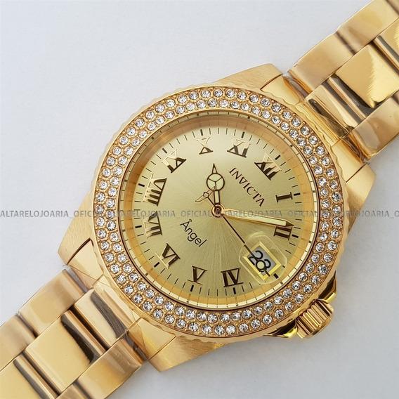 Relógio Invicta Angel Plaque Ouro Ref 19513