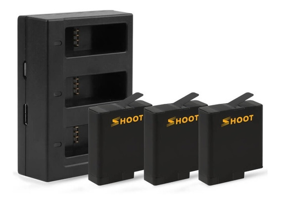 Carregador Triplo + 3 Baterias Para Gopro Hero 5 6 7 8 Black