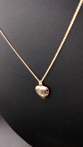 Colar Com Pingente Coração Liso De Brinde, Folheada A Ouro