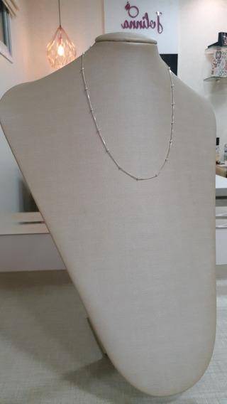 Corrente De Bolinhas Na Prata 925 - 45 Cm