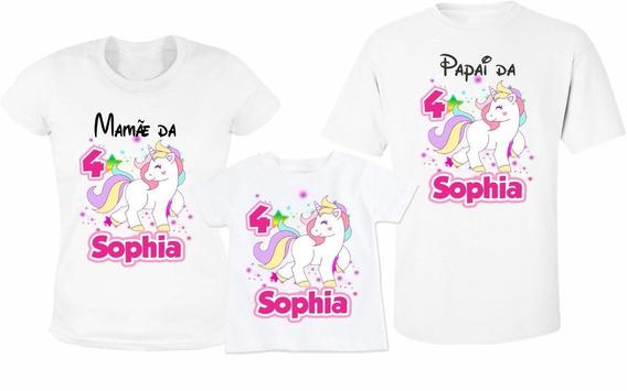 Camiseta Kit Família Unicórnio - Personalizado