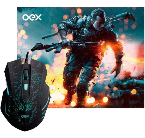 Kit Gamer Oex Stage Mouse 2400 Dpi + Mousepad Pequeno Mc101
