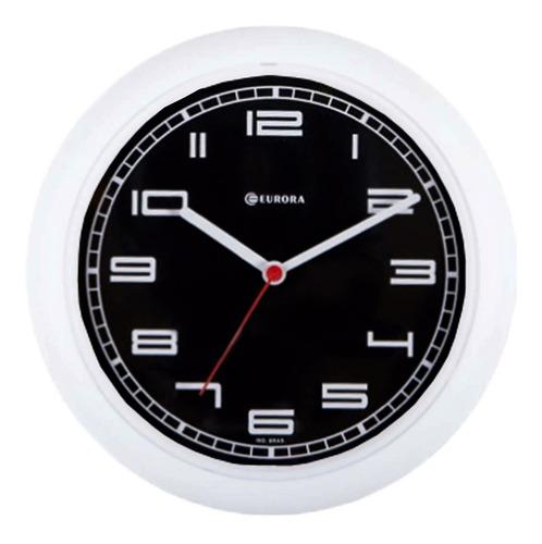 Imagem 1 de 4 de Relógio De Parede Eurora Cozinha Branco Fundo Preto 6521