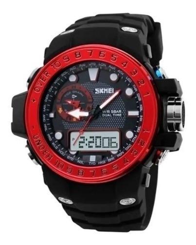 Relógio Masculino Skmei 1063 Preto E Vermelho Caixa Com Nf